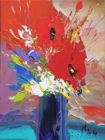 Orange & Red Poppies by  Louis  Magre - Masterpiece Online