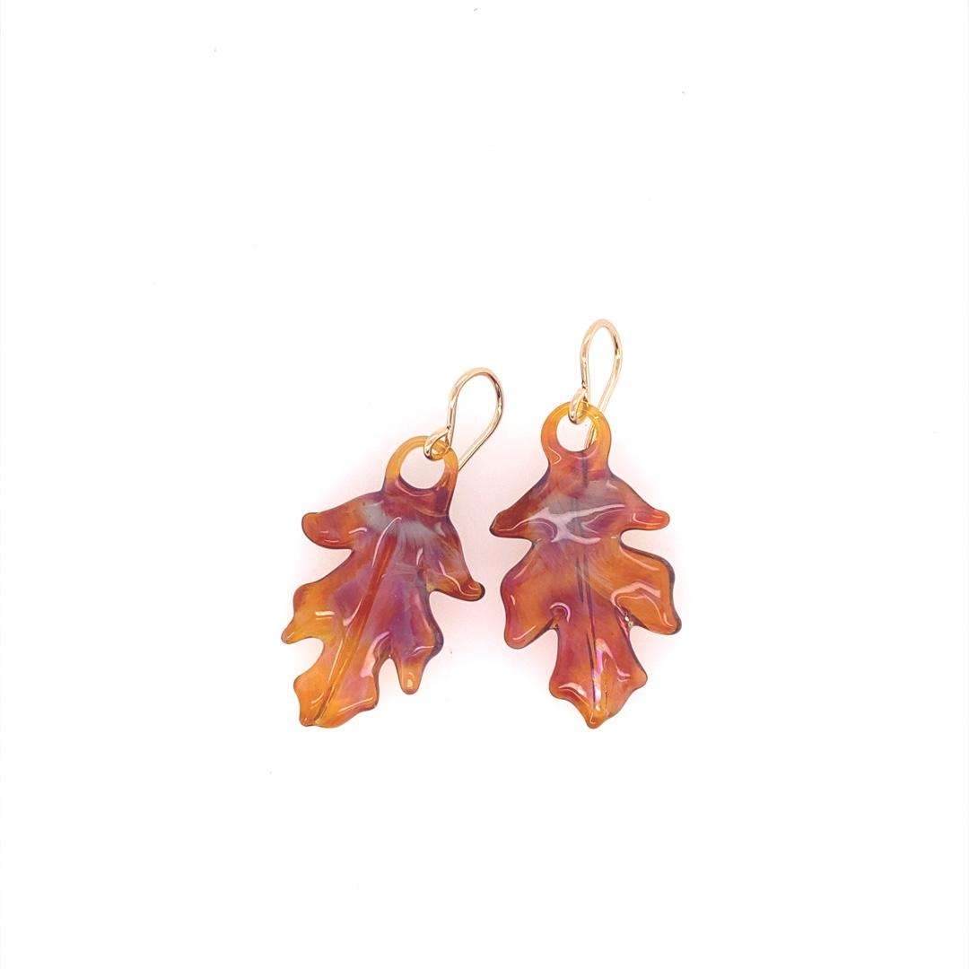 Amber Oak Leaf Earrings