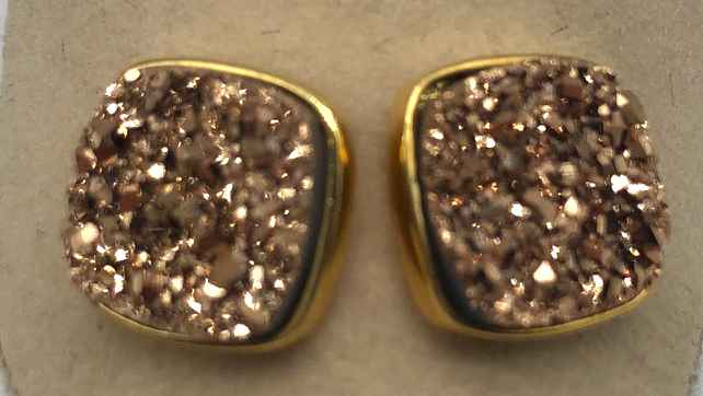 10mm Square Rose Gold Druzy set in Gold Earrings