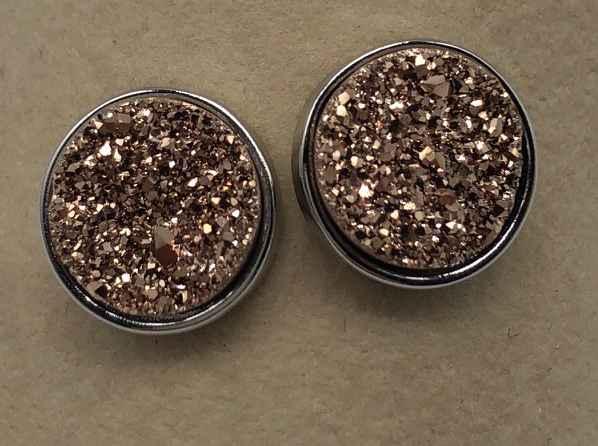 10mm Rose Gold Druzy set in Silver Earrings