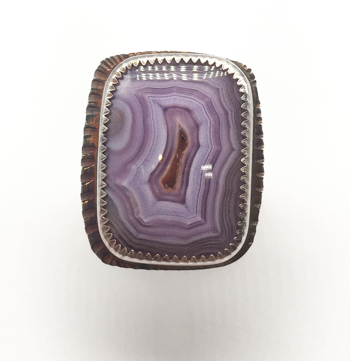 Laguna Beach Agate Sterling Ring, Size 6.75