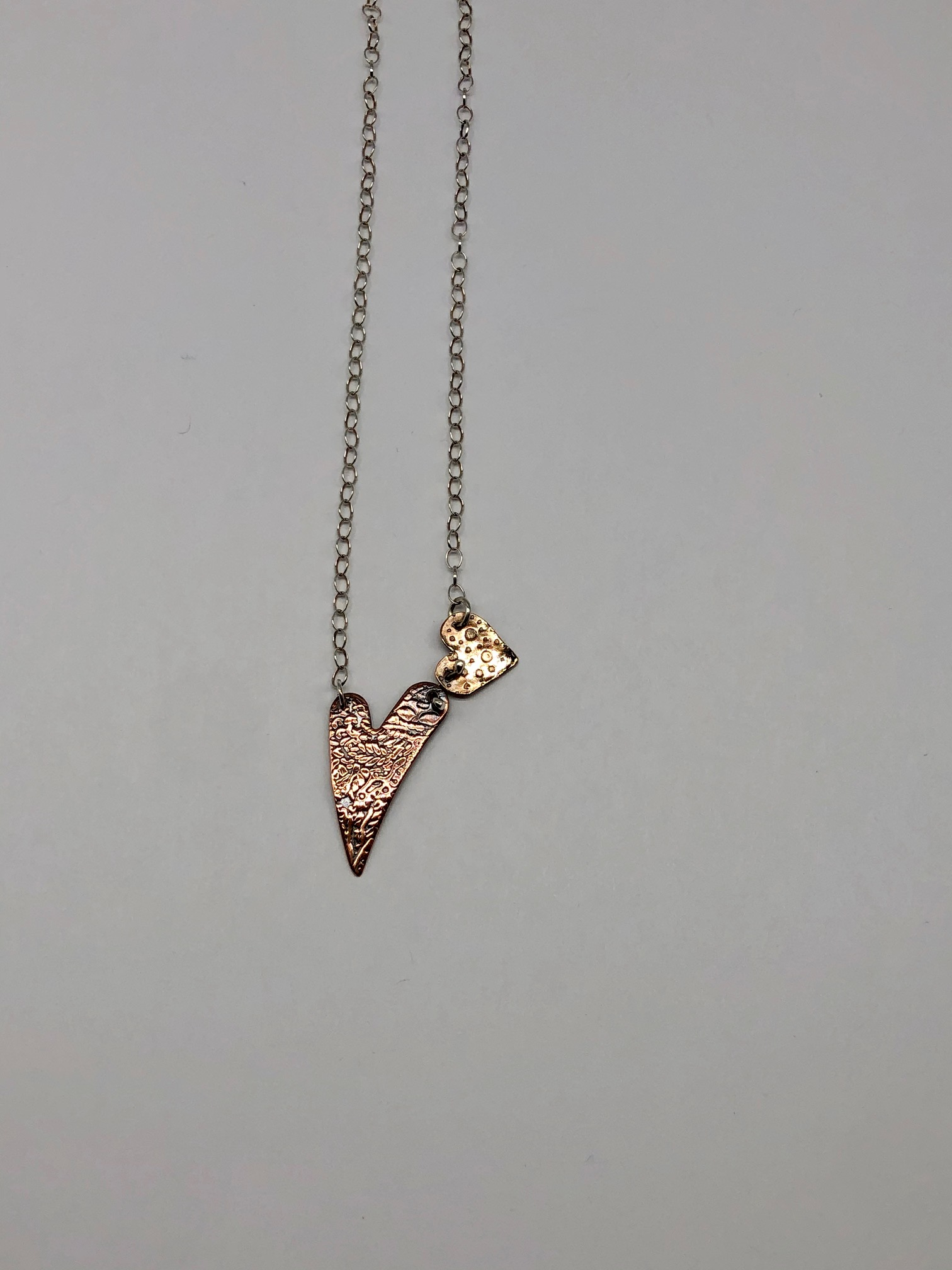 Copper and Bronze Double Heart Necklace 16