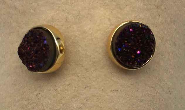 6mm Round Plum Druzy set in Gold Earrings
