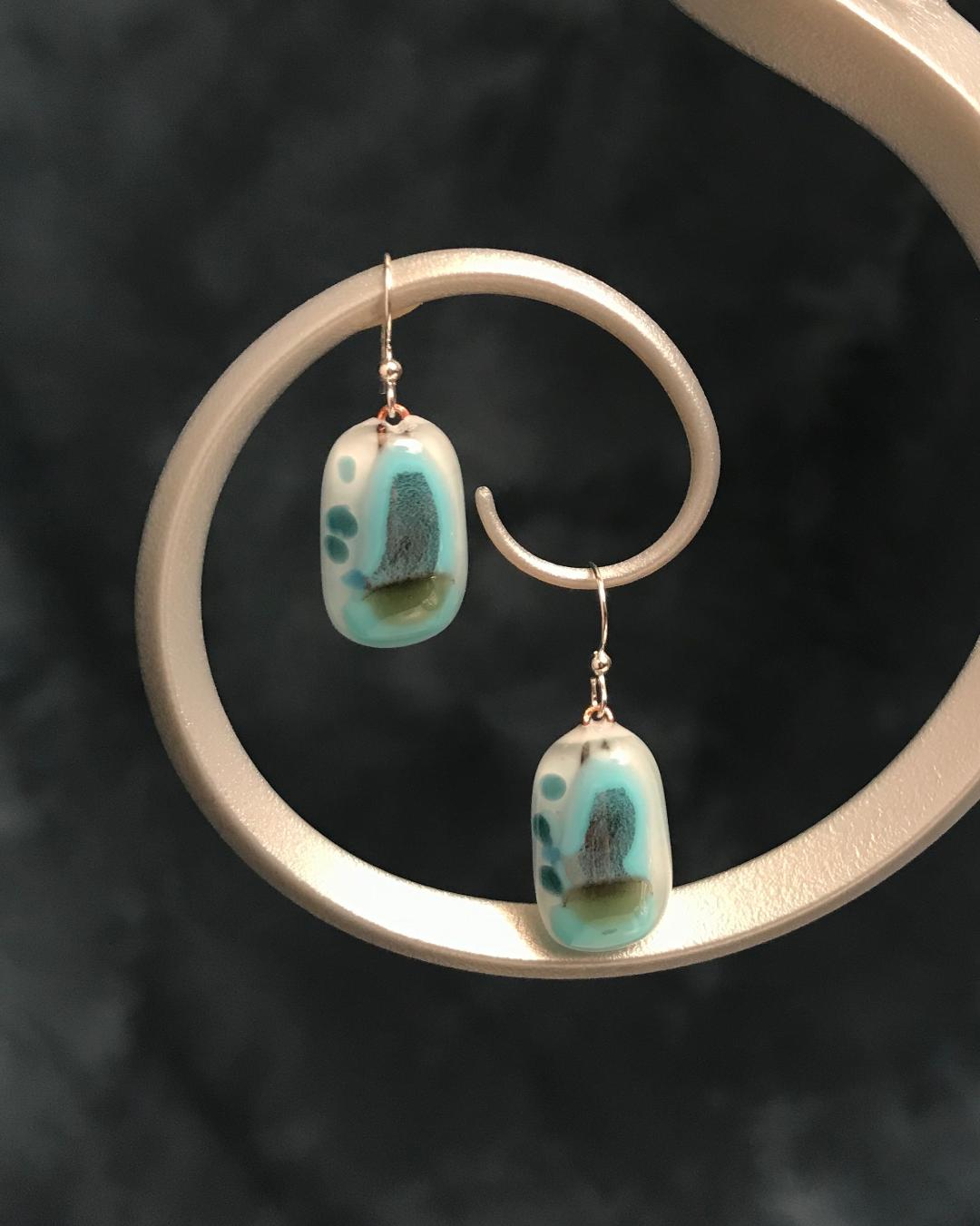 Fused Glass Aqua & Gold Earrings with Silver Plated Wires
