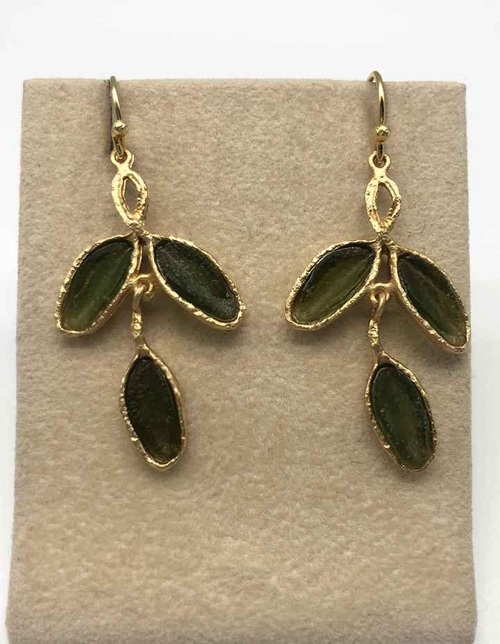 Sage 3 Leaf Wire Earrings 1 3/4