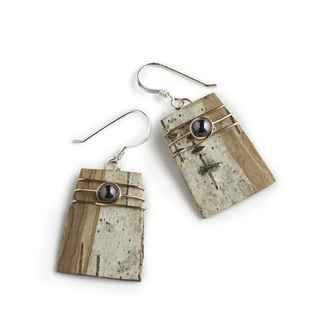 Classic Earrings Birch Bark, Hematite and Copper on Sterling Wires, 3/4