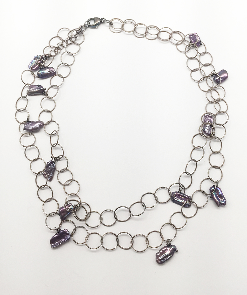 Double Circle Stand Necklace with Purple Beads