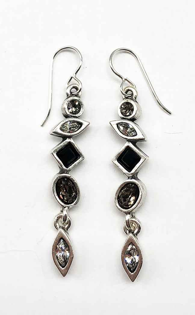 Revelation Earrings in Silver, Black & White