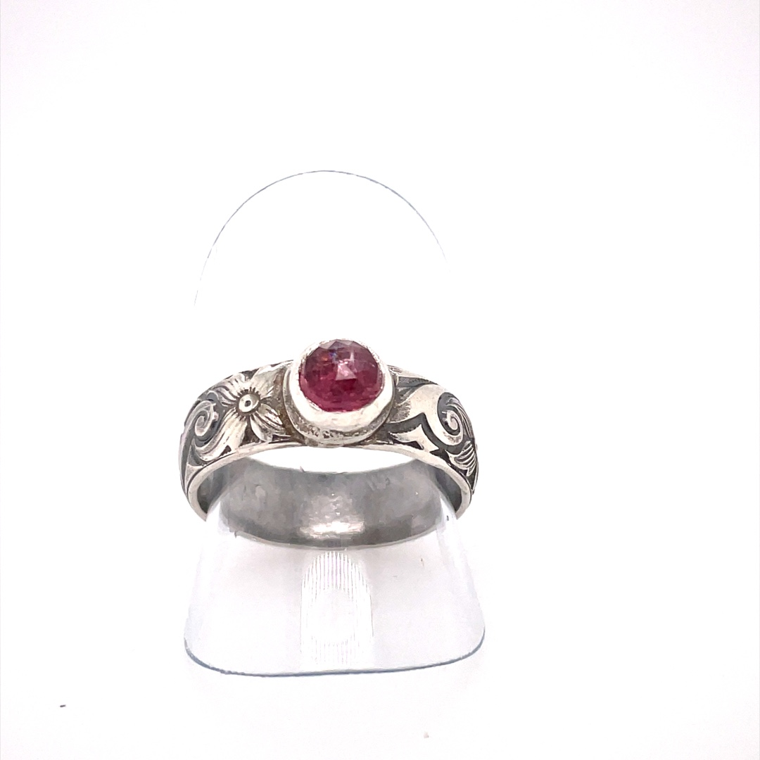 Pink Tourmaline Ring with Pattern Shank, Size 7