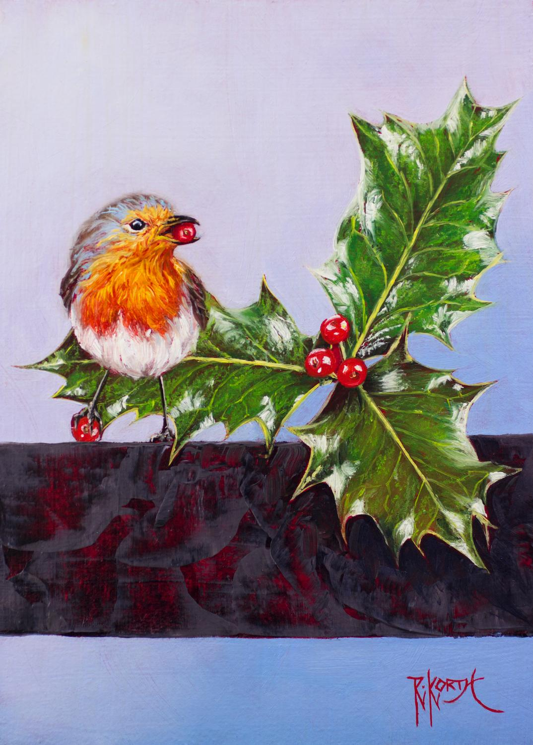 Christmas Robin & Holly