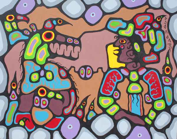 With Animal Friends #... by  Norval Morrisseau - Masterpiece Online