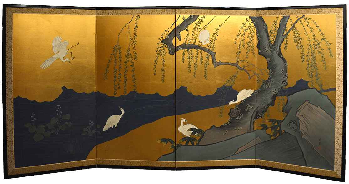 Willow Tree & Herons by  Oh-en Tanaka - Masterpiece Online