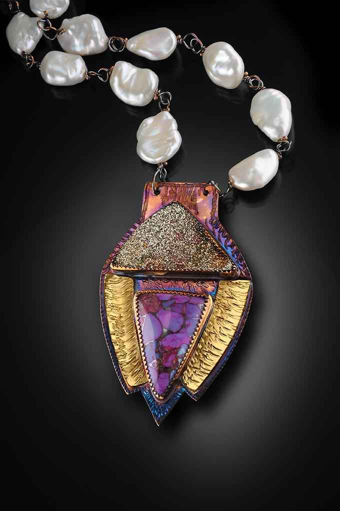 Sterling, 22k Gold, Mosaic Turquoise, Pyrite Druzy on Pearls Necklace