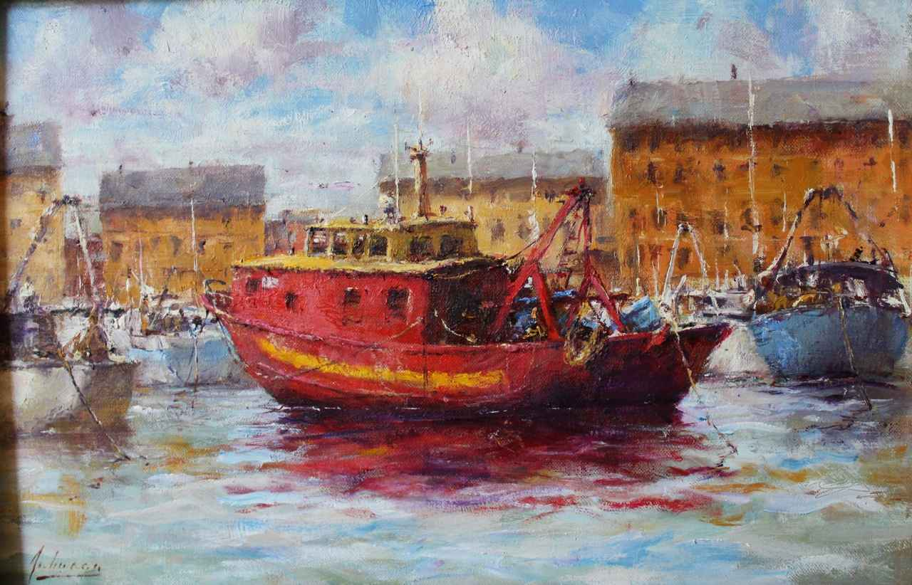 Working Boats, Santa ... by  Robert A. Johnson, OPAM - Masterpiece Online