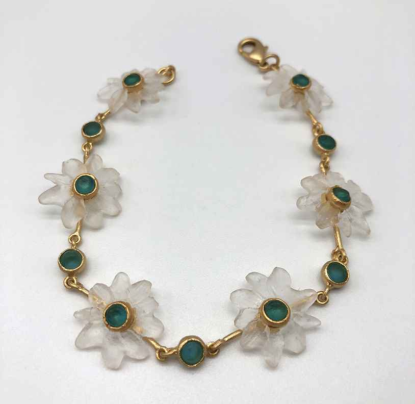 Margarita Bracelet, Bronze and Cast Glass, 7 1/2