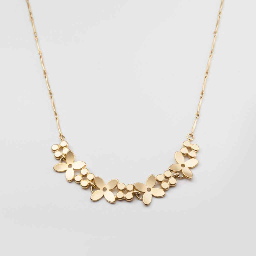 Linnea Floral Necklace Gold Plated Bronze