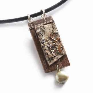 Salon Necklace Birchbark and Pearl on Black Leather Cord, 17