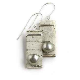 Salon Earrings Birch Bark, Freshwater Pearls and Sterling, 1