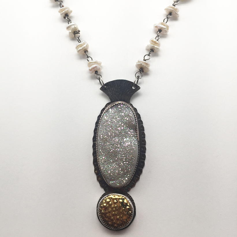 Titanium Plateed Druzy, Pearls, Amethyst, Sterling and 22k Necklace