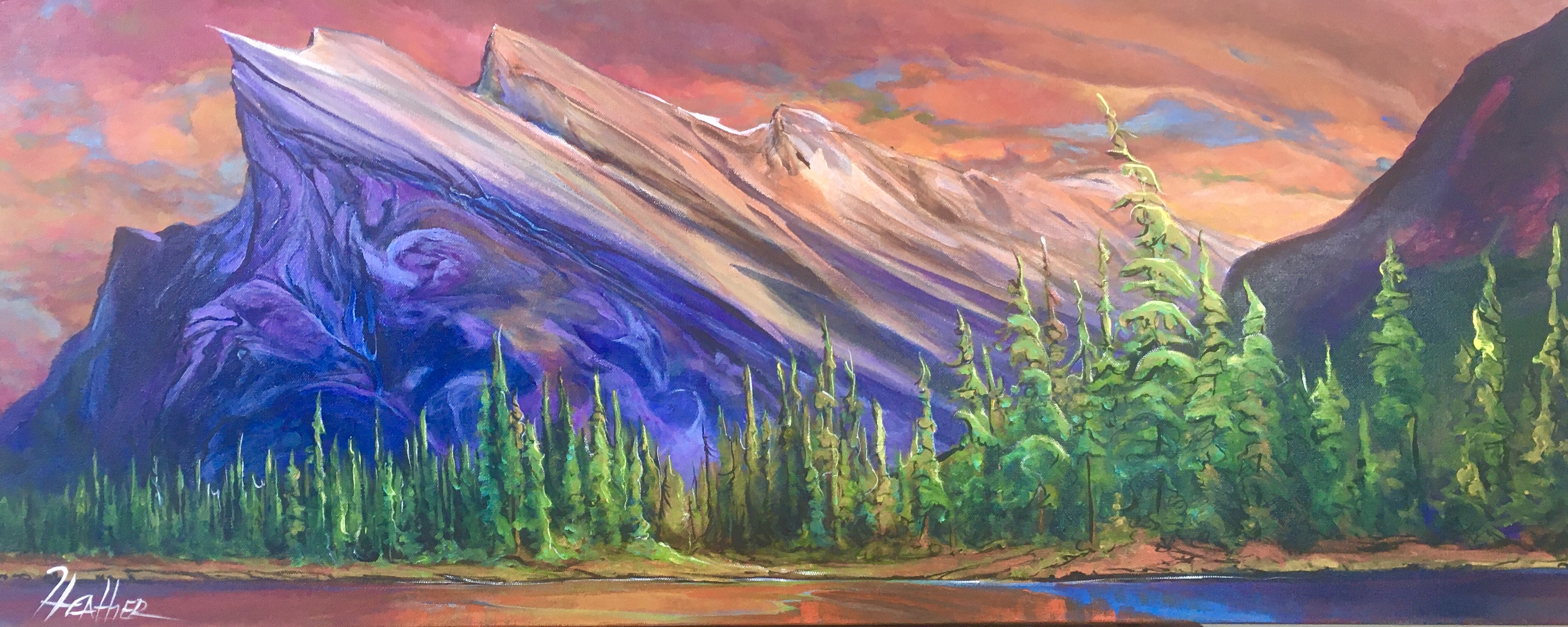 Mount Rundle, As Nigh... by  Heather Pant - Masterpiece Online