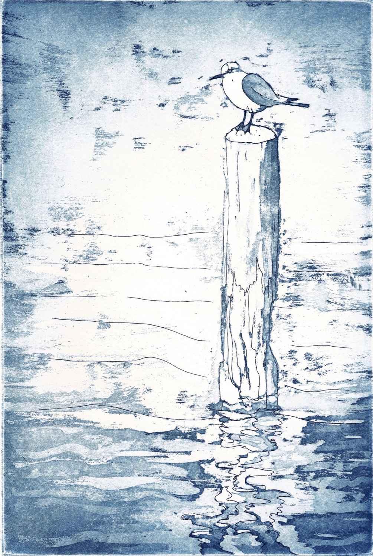 Mouette sur un poteau by  Béatrice ARCHINARD - Masterpiece Online