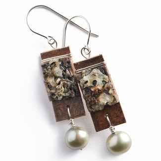 Salon Earrings Birch Bark and Freshwater Pearls on Sterling Wires, 1 3/8
