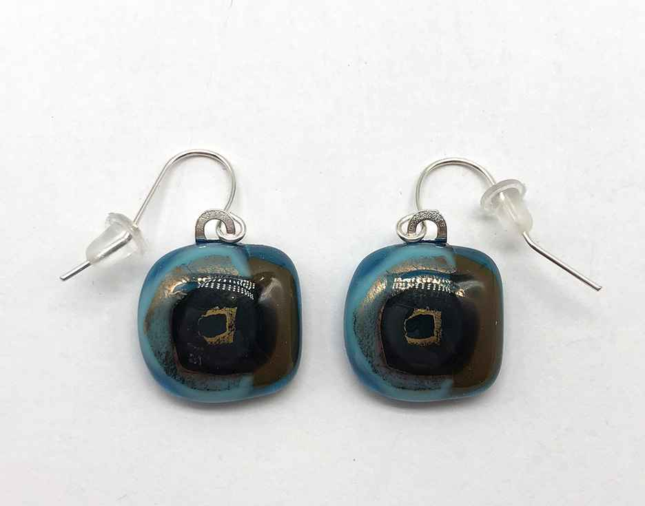 Aqua/Brown/Gold Fused Glass Earrings