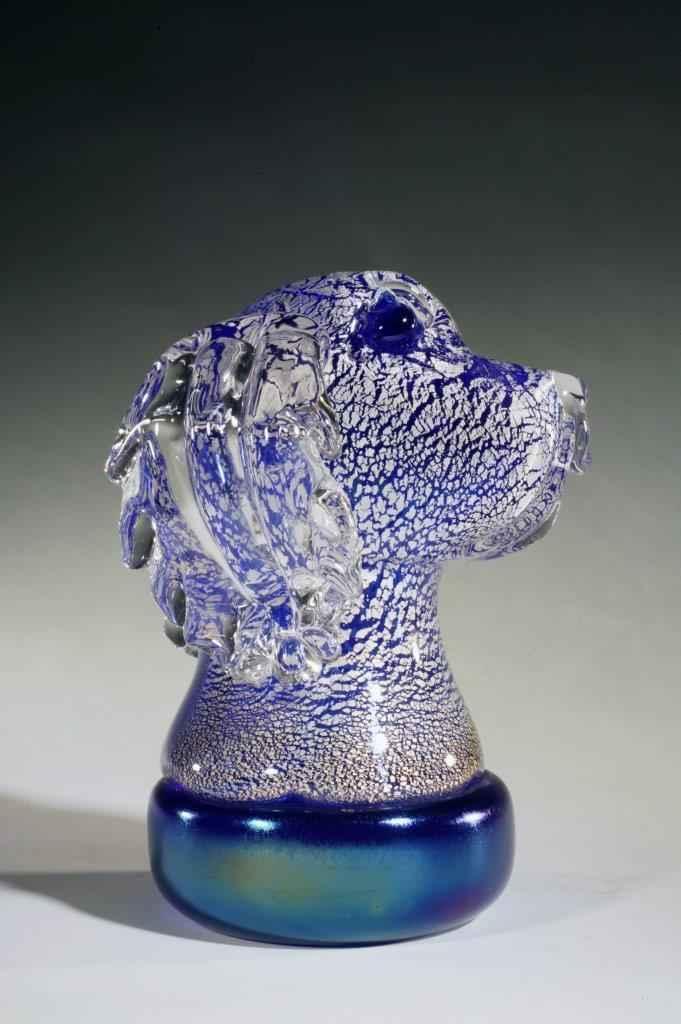 Dog Bust, Cobalt with Silver Leaf
