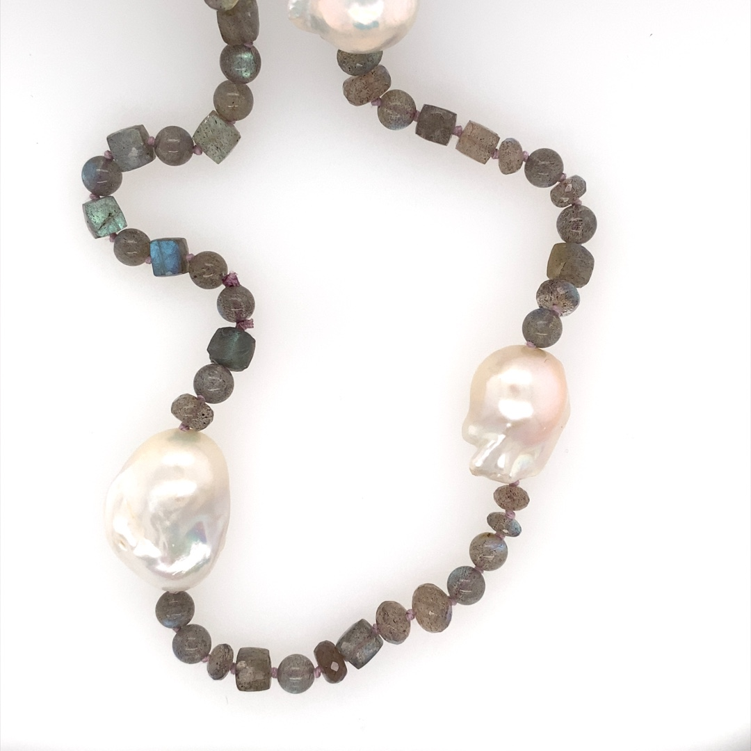Baroque Labradorite Hand-Knotted Necklace 28''