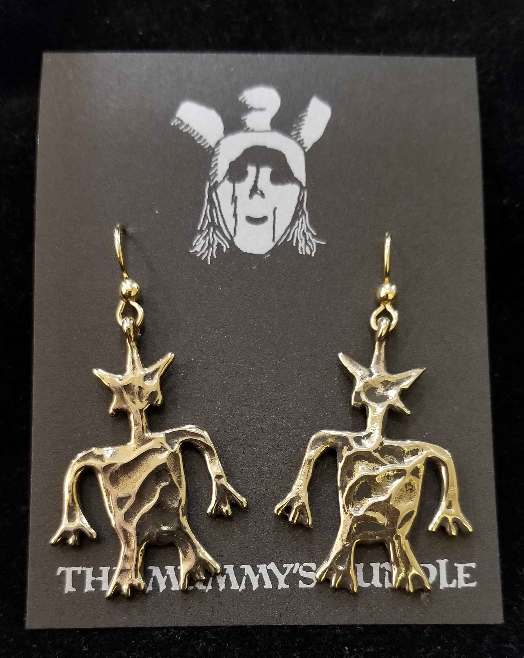 Starman Brass Earrings by  Mummy's Bundle - Masterpiece Online
