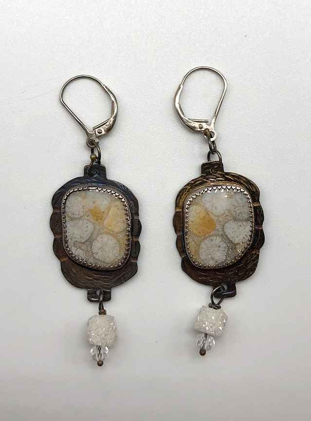 Fossilized Coral and Sterling Earrings