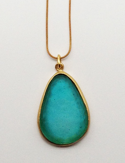 Large Pear Shape Pendant in Teal