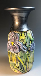 Iris Vase with Black