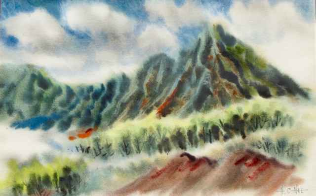 Windward Mountains, O... by  Hon Chew Hee (1906-1993) - Masterpiece Online