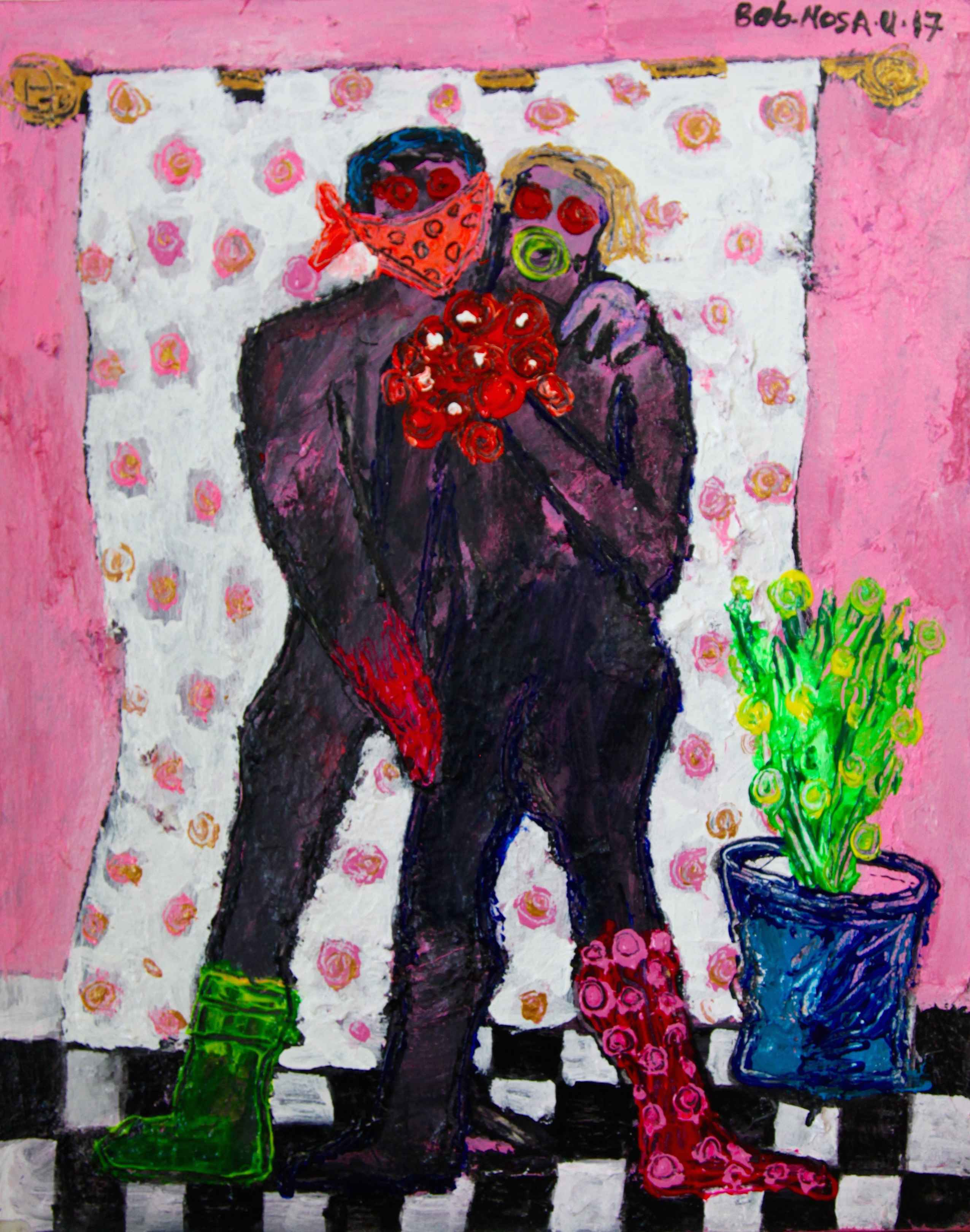 Lovers and a flower p... by Mr Bob Nosa - Masterpiece Online