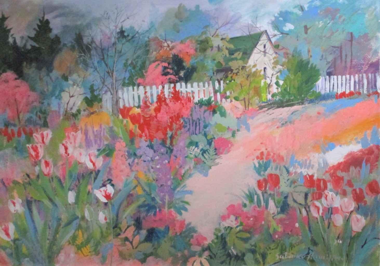 Unknown ( Pink Garden) by  Satsuko Hamilton - Masterpiece Online