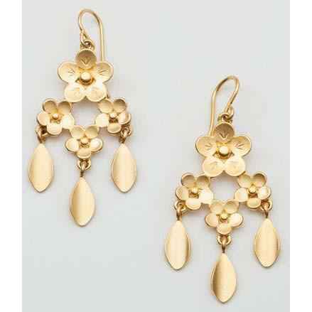 Girandole Earrings Gold Plated Bronze