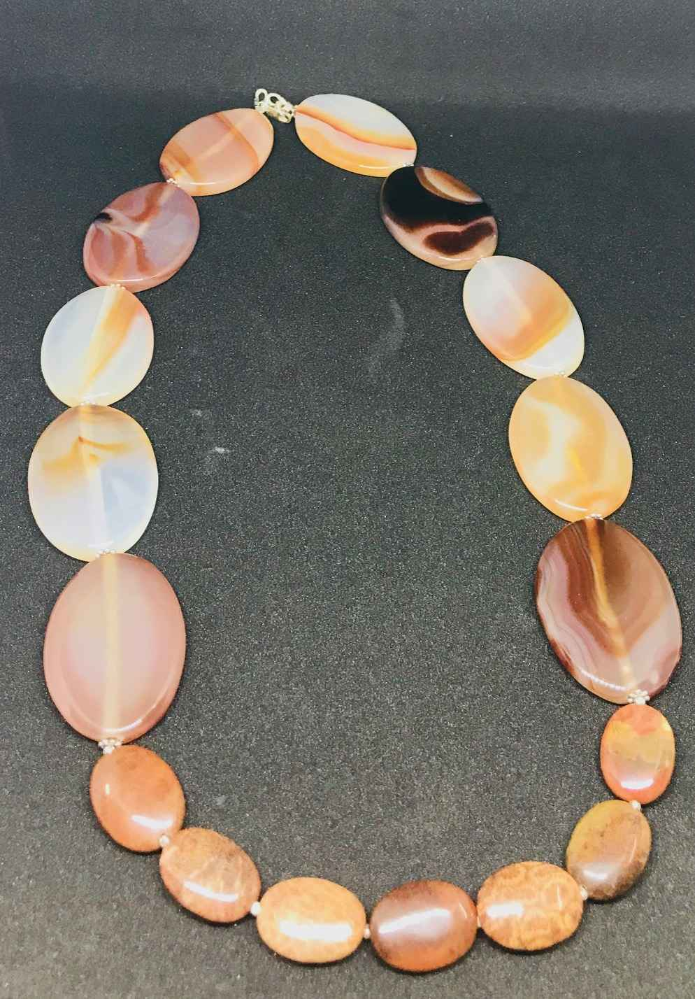 Necklace Agate , Foss... by Mrs Larissa Hale - Masterpiece Online