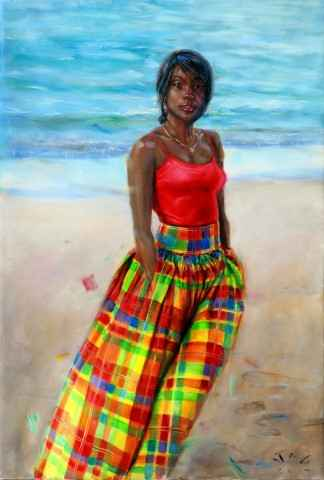 Pet with Madras Skirt... by Mr Jonathan Guy Gladding - Masterpiece Online