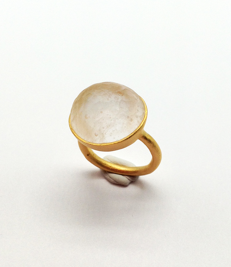 Sol-Single Stone Ring in Frosted Clear Size 5