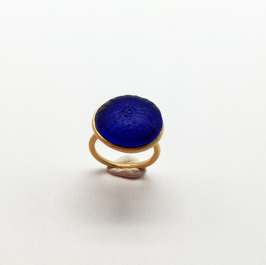 Adjustable Sea Urchin Ring in Cobalt Size 6