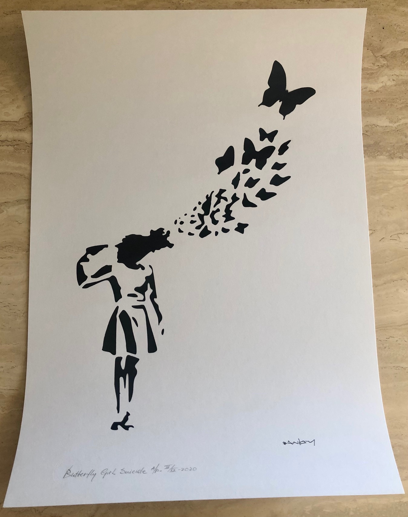 Butterfly Girl Suicide by   Banksy - Masterpiece Online