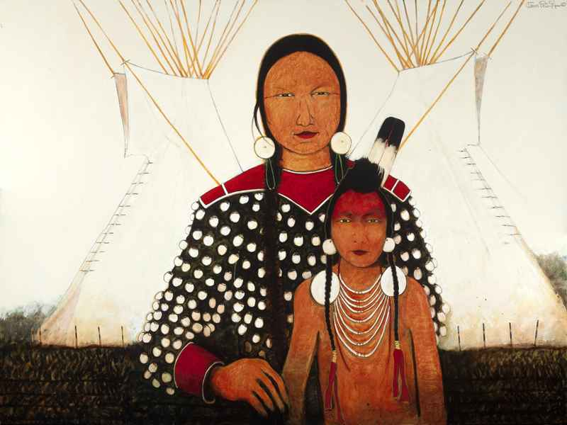 Crow Indian Mother an... by  Kevin Red Star - Masterpiece Online