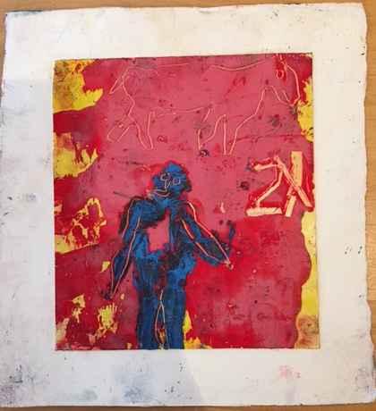 Blue man pink goat 2x  by  James Havard