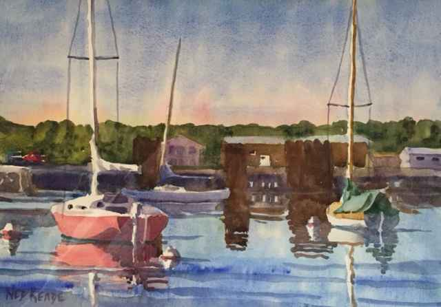 Red Sailboat in Tranq... by  Ned Reade - Masterpiece Online