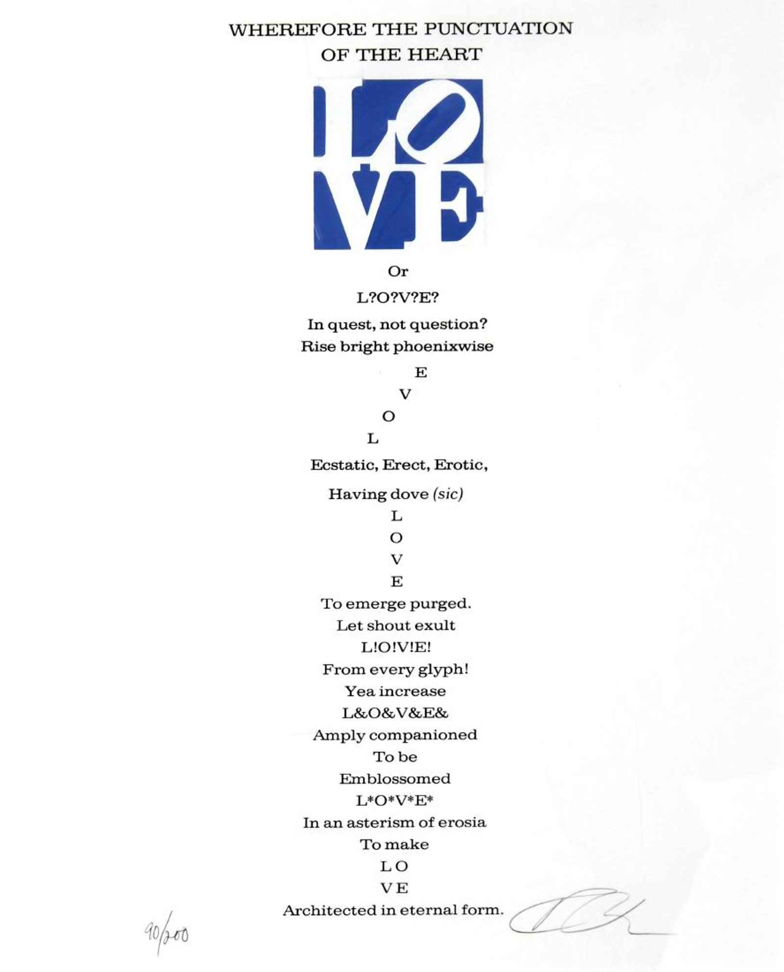 Wherefore the Punctua... by  Robert Indiana - Masterpiece Online