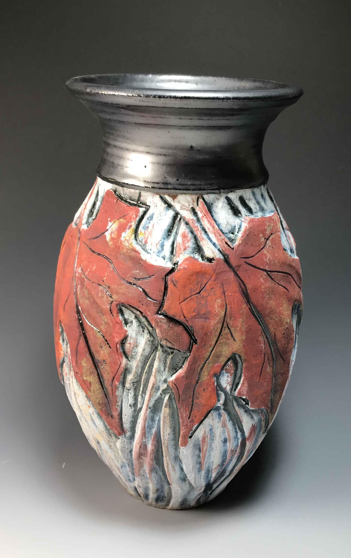 Red Maple Leaf Vase