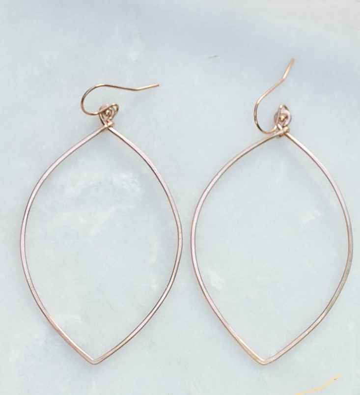 14K Rose Gold Filled Hammered Marquise Hoop Ear
