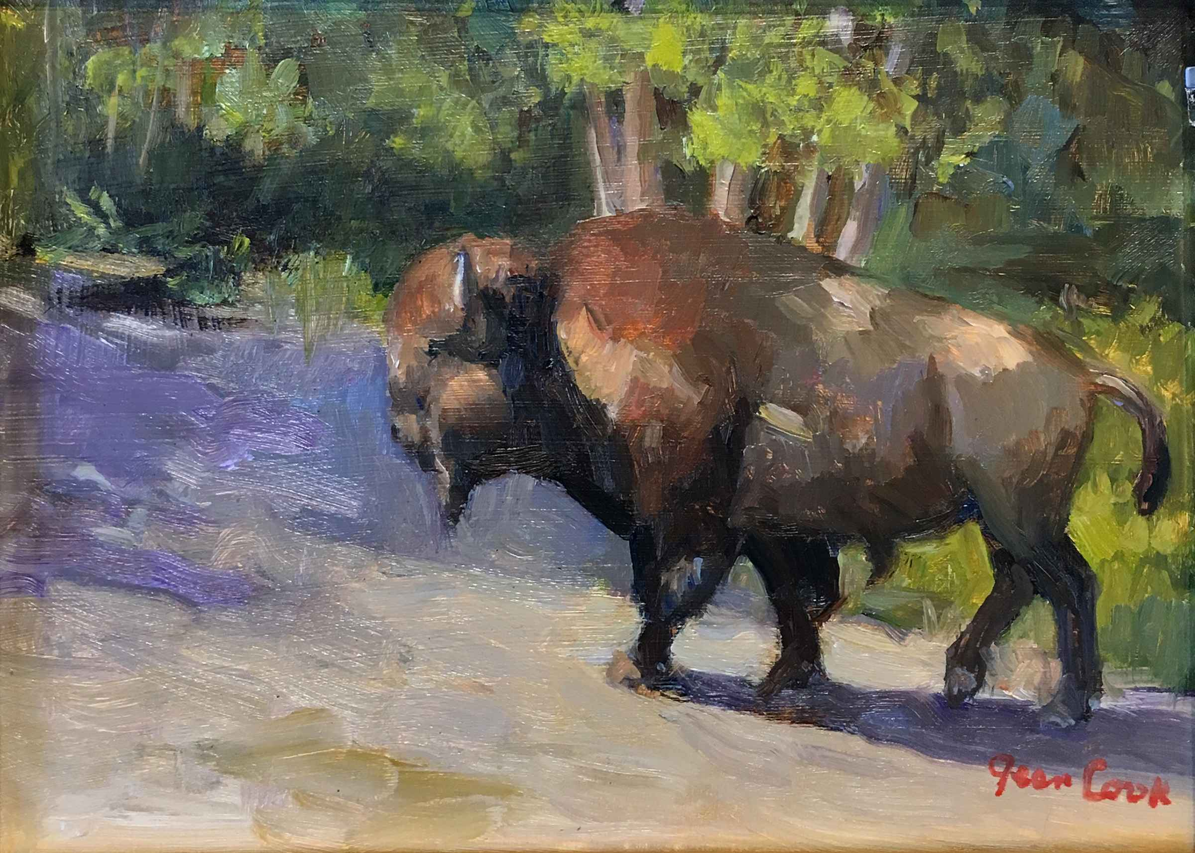 Walking Bull in Yello... by  Jean Cook - Masterpiece Online