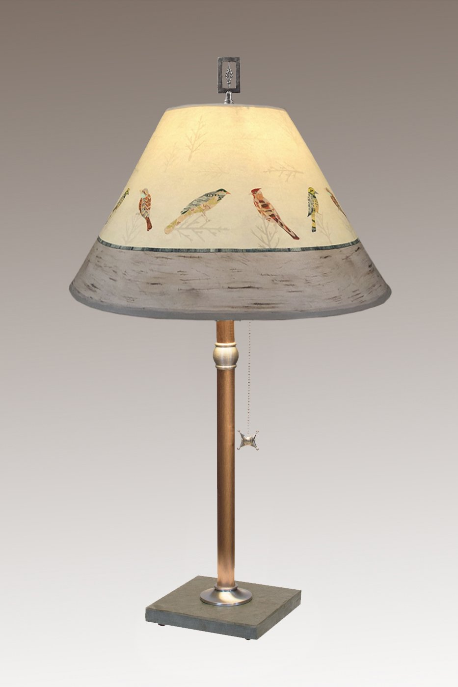 Copper Stem on Vermont Slate with Medium Conical Shade in Bird Friends